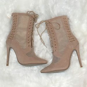 Lace Up Bootie Heels with Mesh by Fashion Nova